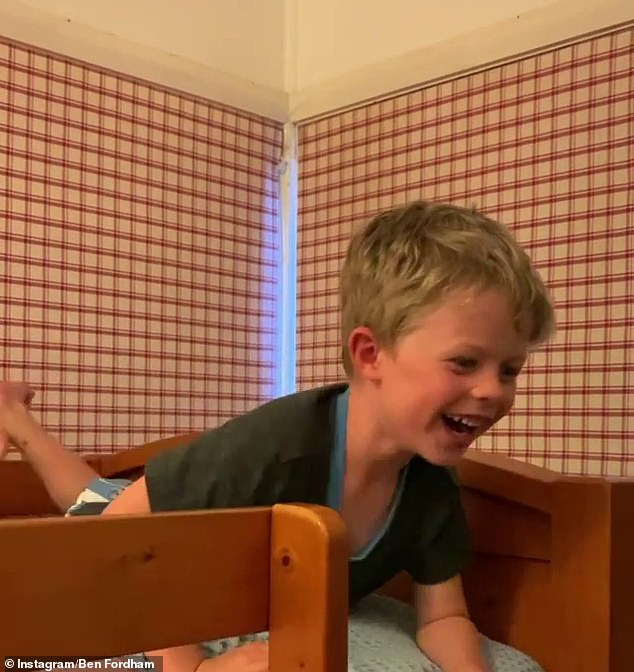 Energetic: In a video shared to his Instagram, six-year-old son Freddy (pictured) bounced around on the top bunk, not yet ready to go to sleep