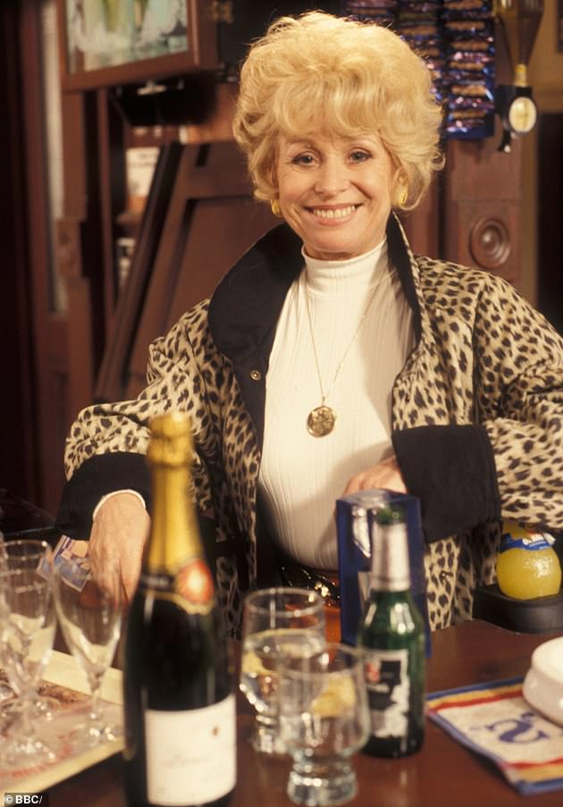 Icon: Dame Barbara is pictured as Peggy Mitchell in EastEnders, 1994. She appeared on the soap from 1991 to 2010, and made several guest appearances before leaving for good in 2016