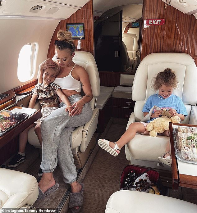 Keeping mum: The family appeared to have chartered a jet, which seats up to seven people, from Airlie for $5,775. Pictured: Tammy with Wolf, five, and daughter Saskia, four