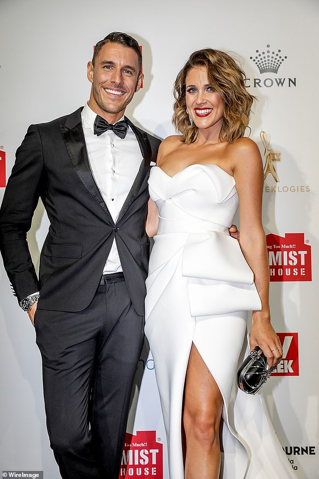 Bridal gown: Posting to her Instagram account, the Channel 10 presenter shared a throwback photo of herself in a floor-length white gown while starring on The Bachelorette. Pictured with Lee Elliott
