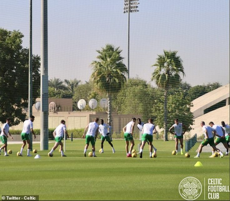 Celtic players train during their winter training camp in Dubai, which has received criticism