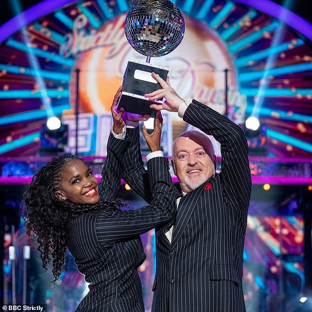 Success: Oti has just won the show for a second time with comedian Bill Bailey