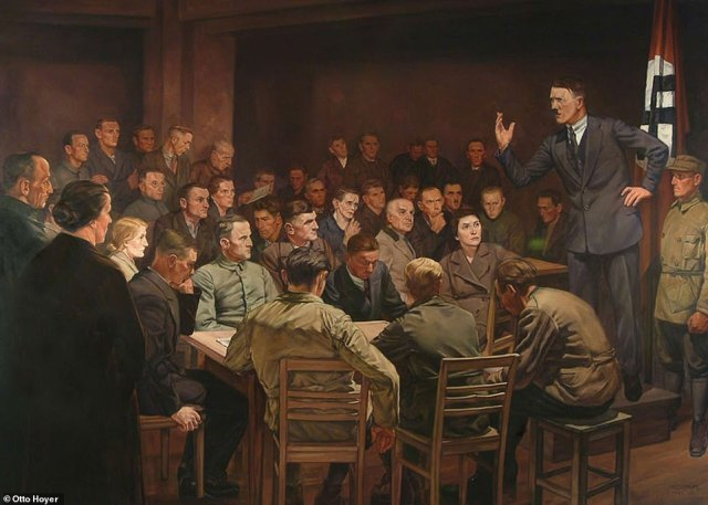 """""""In the Beginning Was the Word,"""" by Hermann Otto Hoyer (1937) shows Hitler mesmerizing his early followers with a speech in the 1920s. Hitler liked it so much that he bought the painting"""