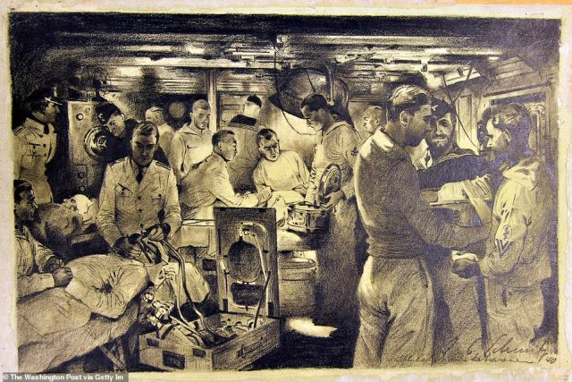 Julius Schmitz-Westerholt's 'Surgical Ward on German Navy Ship' is a 1940 charcoal drawing. In the wake of the war, allied forces embarked on the 'de-nazification' of Germany.