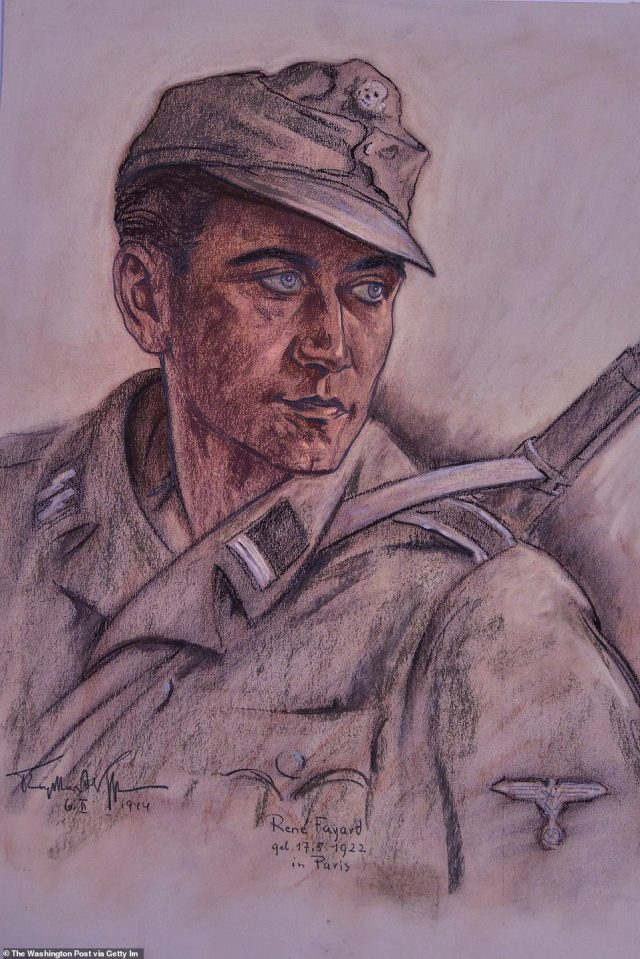 """Otto Engelhardt-Kyffhauser's """"Rene Fayard, French Volunteer in Waffen SS"""" is a 1944 pastel drawing on paper that is being housed at the Army Art Collection"""