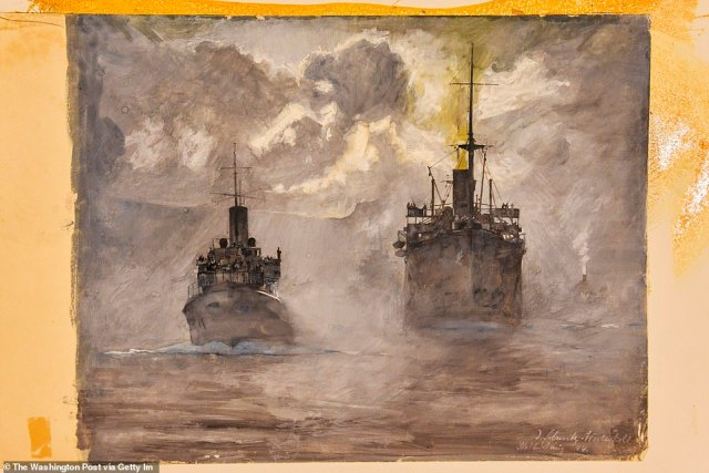 """Julius Schmitz-Westerholt's """"Two Ships In Moonlight"""" is a 1944 watercolor painting on paper that is being housed at the US Army Center of Military History Museum Support Center"""