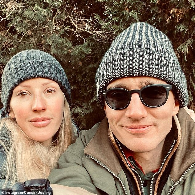 Winter walks: Her love also uploaded a selfie of them wearing wooly hats during a country walk