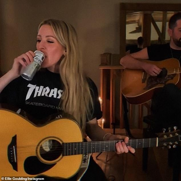 Thirsty work: Included in the batch of snaps, Ellie shared images of her in rehearsals