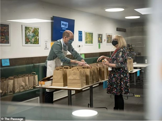 Prince William is voluntarily featured in The Passage Homeless Charity in a 'private capacity' in December.  Duke helped on three different occasions before Christmas