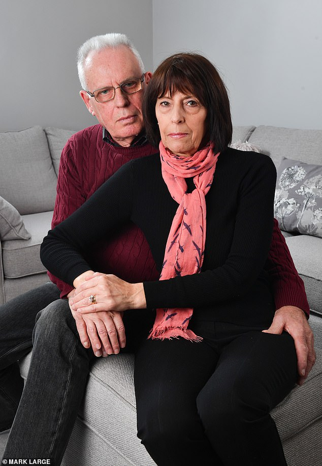 Shei la Cashford (pictured with her husband Paul) has been left with a 'ticking timebomb' inside her after urgent bowel cancer sugery was cancelled because the hospital had a surge in Covid-19 admissions