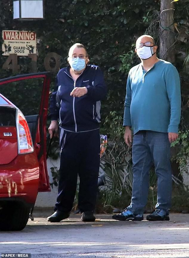 Mr O'Brien (pictured), Tanya's partner of 15 years, spoke to the media outside his home in LA yesterday. Roberts, 65, had been mistakenly reported dead on Sunday by her publicist but was still found to be alive in a bizarre chain of events