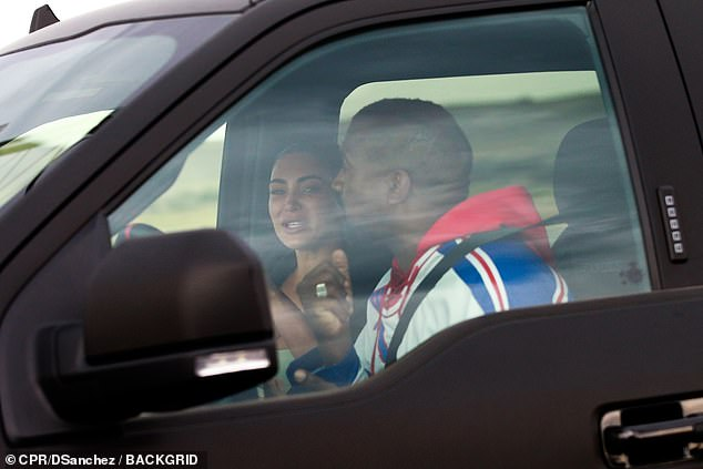 The couple were photographed in Wyoming in late July as they met for marriage crisis talks. A tearful Kim was seen in a car with her husband as they appeared to be having an emotional discussion