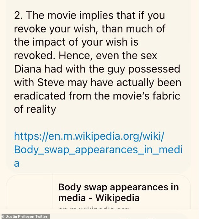 Implies: 'Hence, even the sex Diana had with the guy possessed with Steve may have actually been eradicated from the movie's fabric of reality,' he concluded