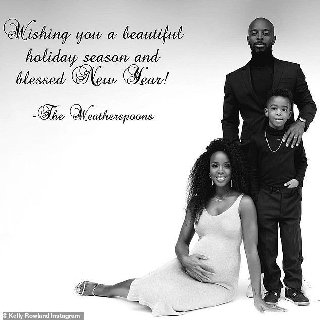 Christmas card:The family's annual Christmas card featured Kelly in a figure-hugging dress that showcased her burgeoning baby bump