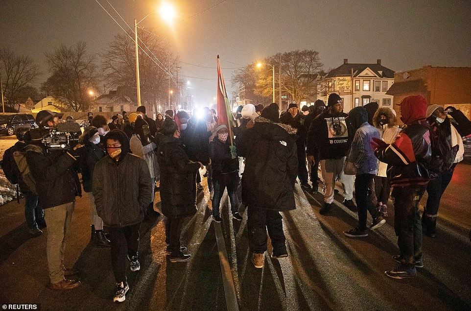Around 100 protesters gathered marched through Kenosha Tuesday night just hours after the DA's decision
