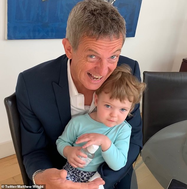 Fatherhood:The former The Wright Stuff presenter, 55, took to Twitter on Wednesday to say he, wife Amelia and daughter Cassady, 23 months are on the mend, although he doesn't know for sure if they have the virus, as they are still waiting for the test results