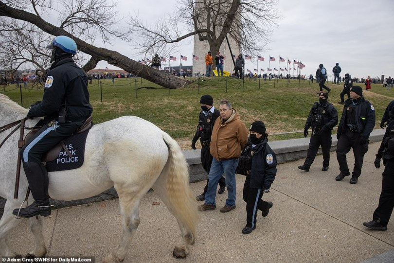 US Park Police are seen above detaining a man near the Washington Monument on Wednesday morning