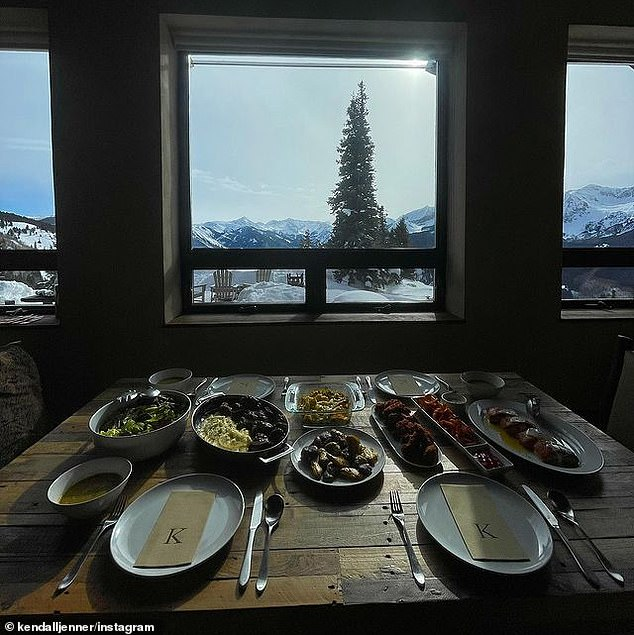 Custom: Likely bringing their personal chef with them, the family were prepared elaborate meals at their ski chalet