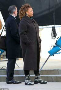 Queen Latifah keeps warm in winter coat as she films TV show The Equalizer on location in New Jersey
