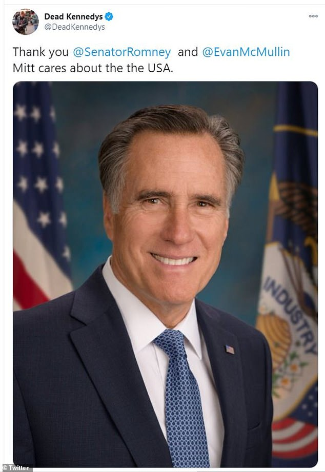Mitt in the pit:The California Über Alles performers said the conservative Utah congressman 'after he denounced President Donald Trump for encouraging disorder at the nation's capitol amid his unsubstantiated claims of voter fraud