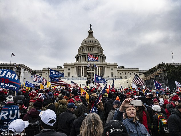 Chaos: Pro-Trump supporters stormed the U.S. Capitol following a rally with President Donald Trump on January 6