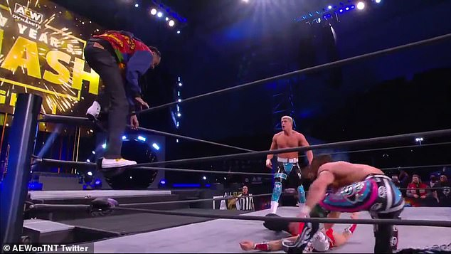 The rapper jumped off the top rope and pinned the wrestler Serpentico in an unofficial match that took place at the culmination of a segment