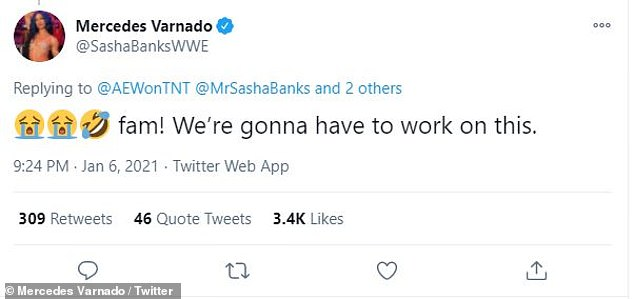 He's first cousins with WWE wrestling star Sasha Banks, who tweeted at him a series of emojis with the caption