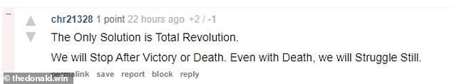 `` La seule solution est la révolution totale '', a écrit un autre utilisateur pro-Trump sur TheDonald