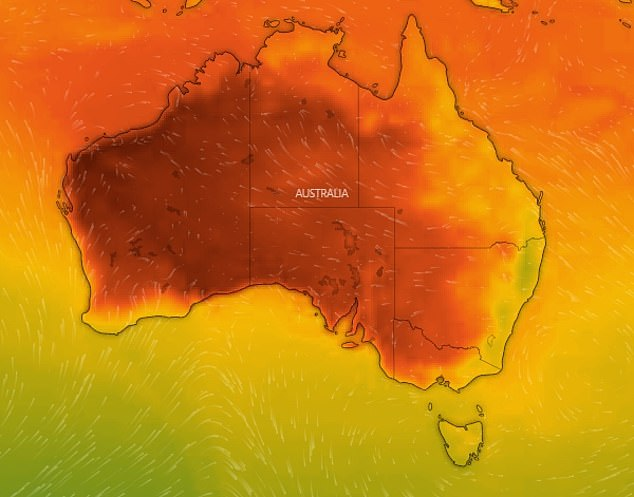Australia's west coast will experience 'very hot' conditions with maximum temperatures tipped to reached 47 degrees (pictured)