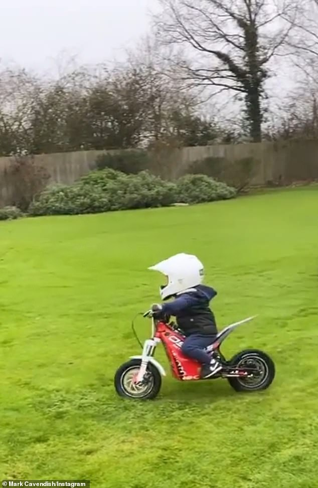 On the move: Cavendish's Instagram video post captioned 'My Baby Fell in Love With A¿ Motorbike', showed Casper smoothly zooming around the family's back garden