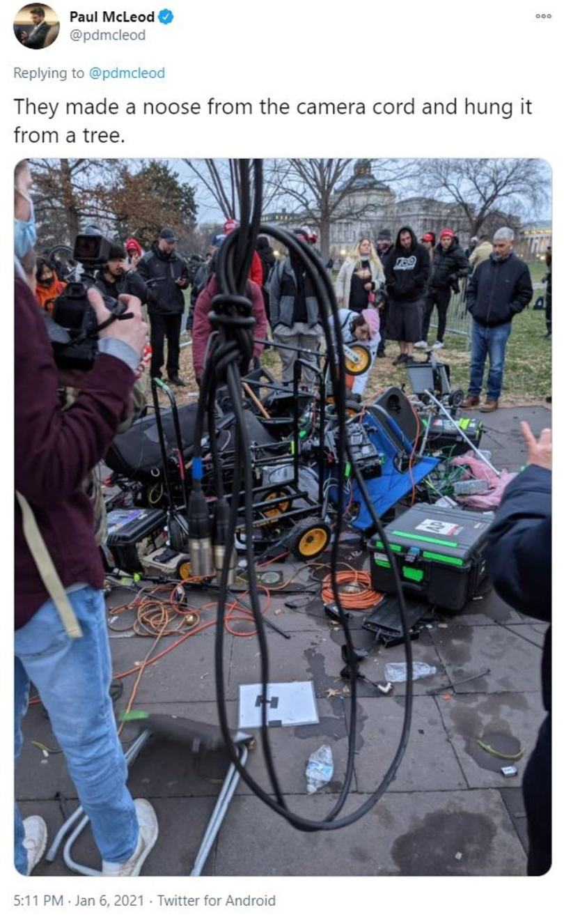 Some of the crowd made a noose from the camera cord and hung it from a tree, according to Buzzfeed reporter Paul McLeod