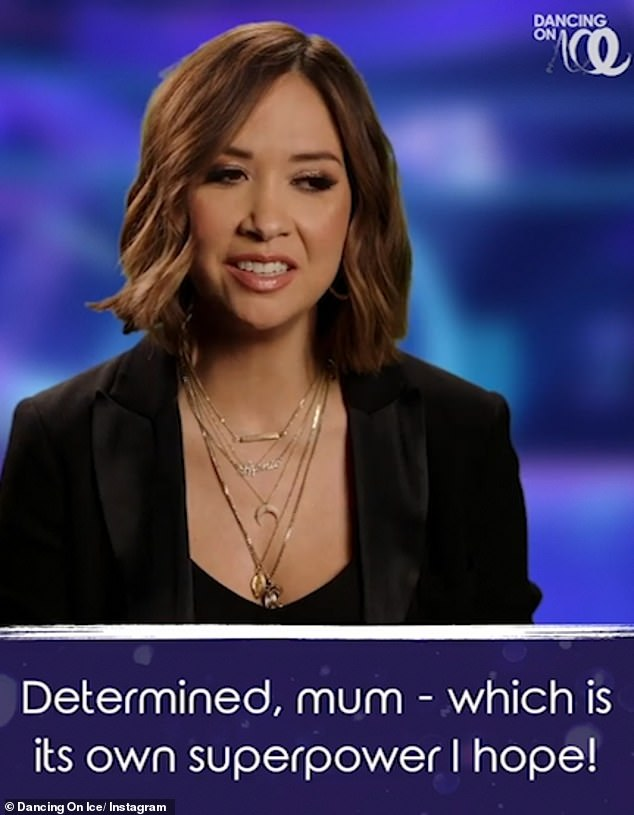 Super mum: The short clips also saw the celebrities describing themselves in three words, with Myleene Klass stating: 'Determined, mum - which is it's own superpower I hope -grafter'