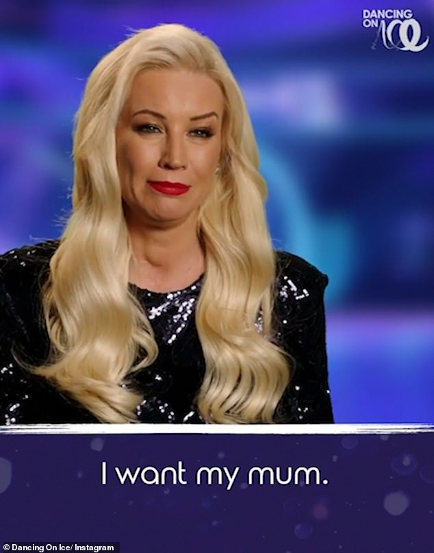 Terrified: Elsewhere Denise Van Outen moaned she was 'scared' of taking part as she exclaimed: 'I want my mum!'