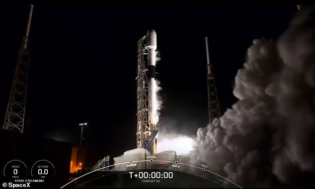 SpaceX's Falcon 9 moments before it took off for its first mission of 2021