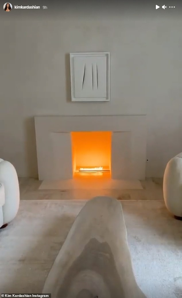 Winter Nights: Another snapshot Kim shared showed a fireplace in her $ 60 million Hidden Hills mansion