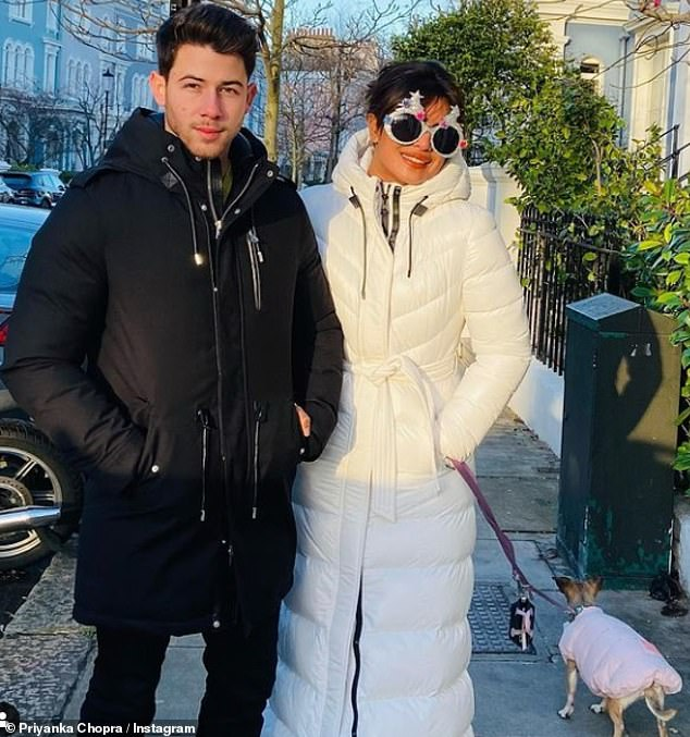 Couple: Priyanka and her husband Nick have been living in London while she filmed the movie and spent Christmas in the city
