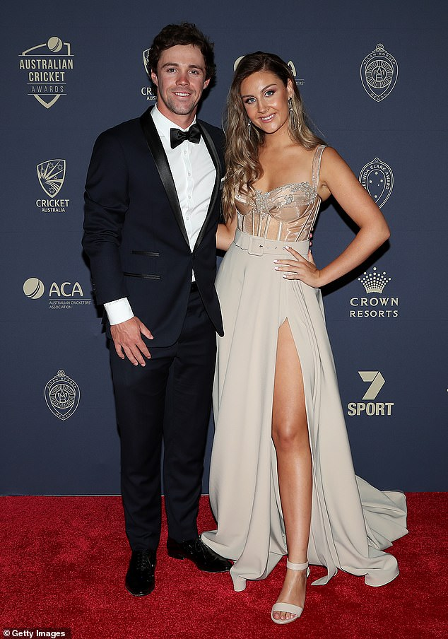 Big purchase: Australian international cricketer Travis Head and his homewares entrepreneur girlfriend Jessica Davies, 24, spent $3.05million a lavish home with jaw-dropping panoramic views of the Adelaide skyline and the sea in April 2020