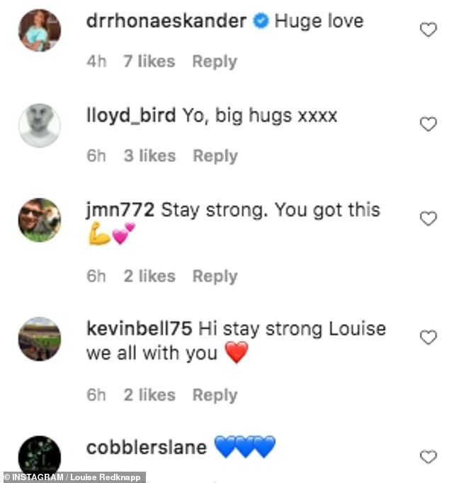 Support: Dozens of people replied to Louise's post sending their love, with some also admitting they were finding the latest lockdown difficult