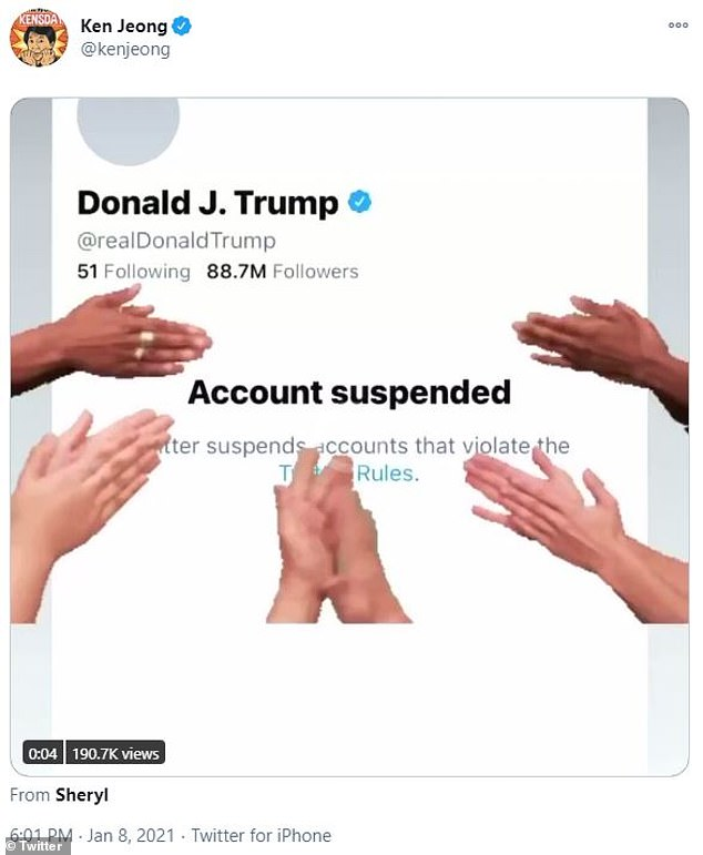Applause: Ken Jeong reacted by posting a screenshot of Trump's suspended account with a GIF of hands clapping