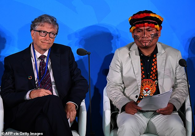 Gates with Indigenous Peoples Representative Tuntiak Katan at the UN Climate Action Summit in 2019. Gates has previously claimed 'I don't think there is anyone doing more' than himself on tackling climate change