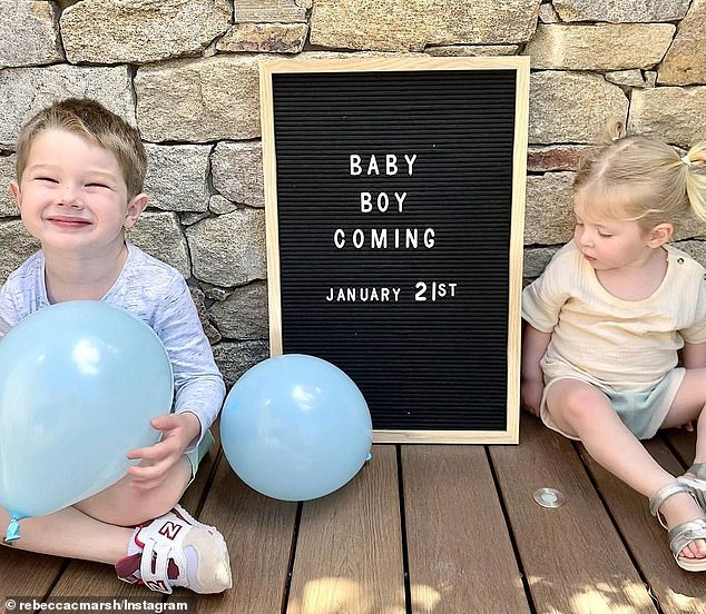 Big news! In September, she shared a photo of her children Austin and Mabel pointing to a sign that read their baby brother was due on January 21 2021 - making his January 7 arrival three weeks earlier than expected