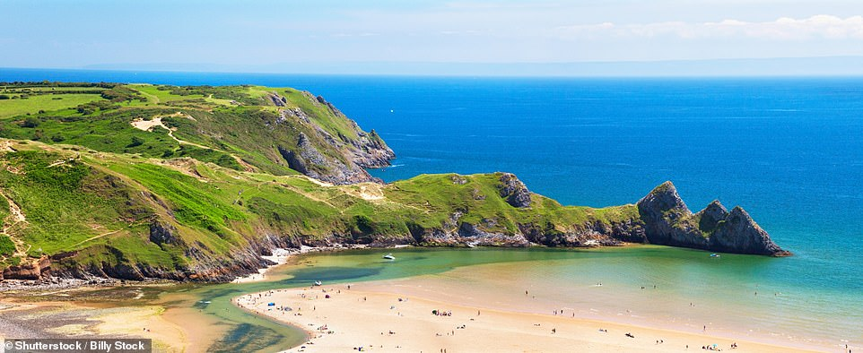 Dreamy: The Gower Peninsula, Wales, has some spectacular beaches. Pictured above is Three Cliffs Bay