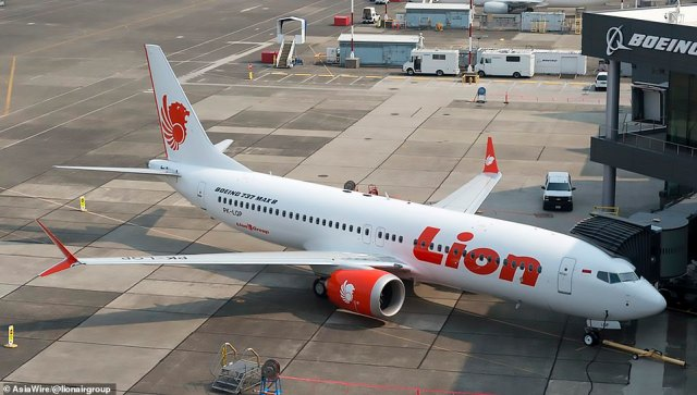 The reported disappearance comes just over two years after a Lion Air Boeing 737 MAX plunged into the sea after taking off in Indonesia. Lion Air's flight JT-610 (stock photo) lost contact with air control in October 2018