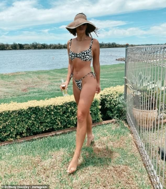 Message: Brittany also shared this photo of herself in the same bikini she wore in her relationship announcement post, alongside an optimistic New Year's message.'See you next year, lovers,' she wrote. 'I wish you all nothing but the best. Thanks for your love this year'