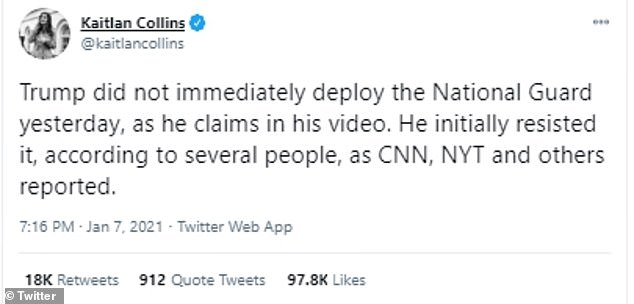 Kaitlan Collins, CNN's White House correspondent, tweeted: 'Trump did not immediately deploy the National Guard yesterday, as he claims in his video. He initially resisted it, according to several people, as CNN, NYT and others reported'