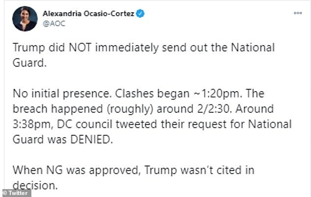 AOC blasted reports that Trump ordered the National Guard to the scene