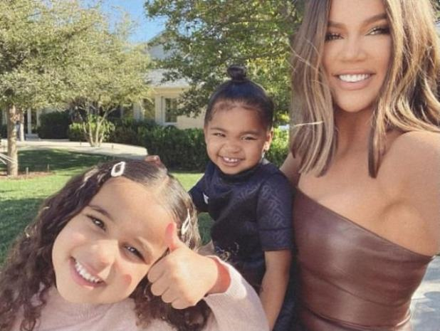 Thumbs up: Khloe Kardashian, 36, shared a selfie with daughter, two, and Rob's daughter Sapna, four, as she celebrated the end of Keeping Up with Kardashian after 20 seasons.