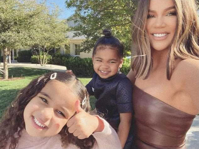 Thumbs up: Khloe Kardashian, 36, shares a selfie with daughter True, two, and Rob's daughter Dream, four, as they celebrate the end of Keeping Up With The Kardashians after 20 seasons