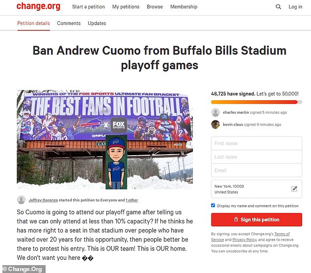 Andrew Cuomo had planned on attending as well, but fans and New York residents who were upset about his pandemic regulations petitioned to have him banned from the game. Ultimately the change.org petition gained over 40,000 signatures