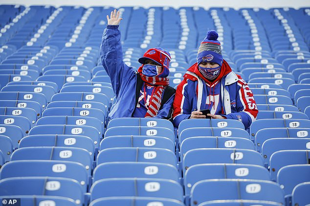 A pair of Bills fans wait for the start of Saturday's game, where the crowd was limited to 6,700